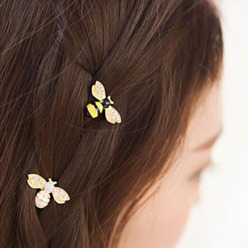5 Pcs/Lot Fashion Women Girls Hair Accessories Rhinestone Bee Hair Clip Headband Hairpin Hair Clips