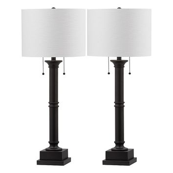 Safavieh 2-piece Estilo Column Table Lamp Set (Grey)