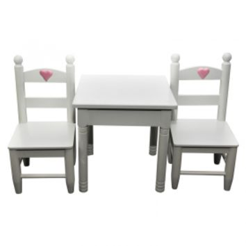 White Table & Chair Set, Furniture Fits 18 Inch Girl Dolls