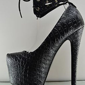 Ingrid Black Cut Out Ankle Cuff 6.5 Heel Snake Skin Texture Rizo Pump
