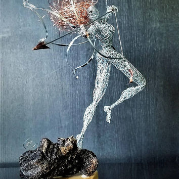 The Archer Fairy Unique Wire Art Gift for Her/Him fantasy Sculpture Magic Fairytale Enchanted OOAK modern steel Home Decor love gift statue