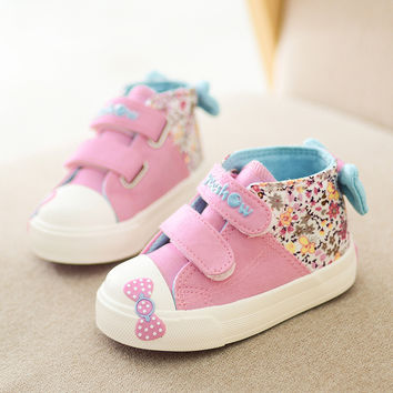 Canvas Children Sneakers 2017 Bowknot Girls Princess Shoes Denim Kids Sneakers Floral Flat Boots for Girls Baby Toddler Shoes