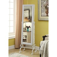 White Finish Arch Jewelry Cabinet Freestanding Floor Mirror Stand Makeup Armoire Organizer - Rings, Necklaces, Bracelets