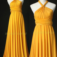 Wedding Infinity Maxi Dress Wrap Convertible Dress Bridesmaid Dress Yellow Formal Prom Dress
