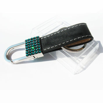 BLING Keychain with crystals sleutelhanger Emerald crystals / key fob with crystals green emerald