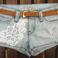Light Wash Pale Blue Lace HIPPIE Boho Shorts Low Rise FESTIVAL size 26/27