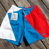 Vintage Men's HOBIE Swim Trunks - 1980s / 1990 - Color Block - Size S