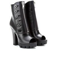 mytheresa.com - Leather peep-toe boots - Luxury Fashion for Women / Designer clothing, shoes, bags