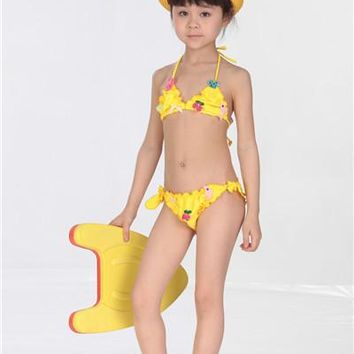 2015 new children's dance performance clothing girls swimwear bikini swimsuit baby lace swimwear swimsuit for girls