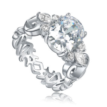 Stainless Steel Oval Cubic Zirconia W. Heart and Butterfly Filigree Ring