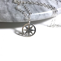 North Star Compass Necklace Sterling Silver Compass Pendant North Star Pendant Round Silver Small Double Layer Pendant 925 Silver Necklace