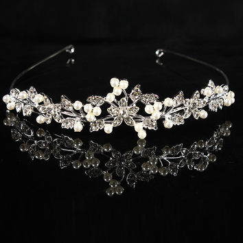 Wedding Bridal Prom Party Princess Pearl Crystal Flower Hair Band Tiara Headband Jewelry Accessories