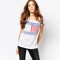 White Folded Sleeve Shirt with Color Block Print