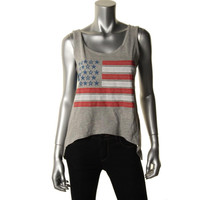 RRR Womens Juniors Heathered Lace Back Tank Top