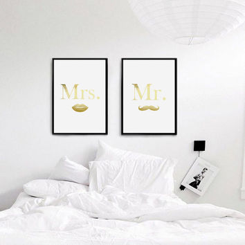 Real Gold Foil Print, Mr and Mrs Print, Lashes Moustaches Print, Bedroom Decor,Wall Art, Couple Print,Fashion Print, Set Of 2 Bedroom Prints