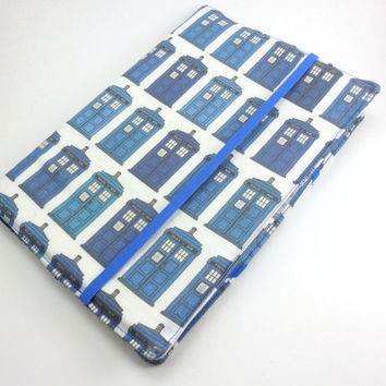 Dr Who Kindle Fire Cover, Tardis iPad Case, Fabric eReader Tablet- Police Box-Blue White
