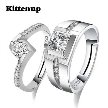 Kittenup New Fashion Simple Heart-shaped Couple Jewelry Open-end   Rings Lover Wedding Engagement Rings