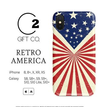 Retro America - Heavy Duty Shock Absorption Phone Case Cover For Iphone X, Xr, Xs, 8, 8+ & Samsung Galaxy S10, S10+, S9, S9+, S8, S8+