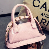 Mini Clear Studded Pink Purse Set