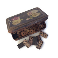 Antique Dominoes-Bone and Ebony-Vintage Tile Game-Tin Box-Domino Set-Antique Game-Antique Toy-Collectible Dominoes-Black & White-Art Supply