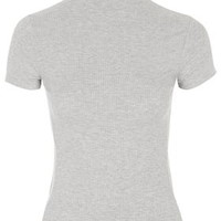 Ribbed Funnel Neck Top by Topshop Reclaim - Grey Marl