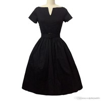 Women's Elegant Dress 50s 60s Vintage V-neck Swing Rockabilly Pinup Ball Gown