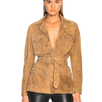 Saint Laurent Suede Belted Safari Jacket in Tobacco | FWRD