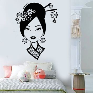 Vinyl Wall Decal Geisha Sexy Oriental Woman Asian Art Stickers Unique Gift (ig3744)