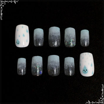 Nail Art の森 - Droplets of Rain; Gel False Nails Set
