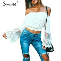 Simplee Summer off shoulder white lace women blouse Casual long sleeve beach girls crop tops Sexy embroidery bow blusas