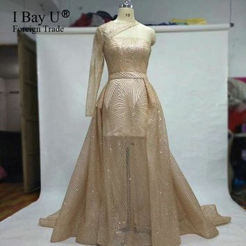 Single Sleeve Sexy One-shoulder Evening Dress Champagne Glitter Long Prom Dress Detachable Train Evening Gown