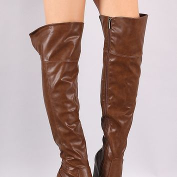 Bamboo Almond Toe Chunky Heeled Over-The-Knee Boots