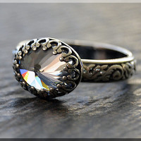 Sterling Silver Cubic Zirconia Ring, April Birthstone Ring, Oval Clear CZ Ring, Floral Shank Ring, Cocktail Ring, Stacking Ring,