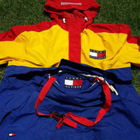 Vintage Tommy Hilfiger Colour Block Big Logo Sailing Gear Jacket Spell Out Very Rare