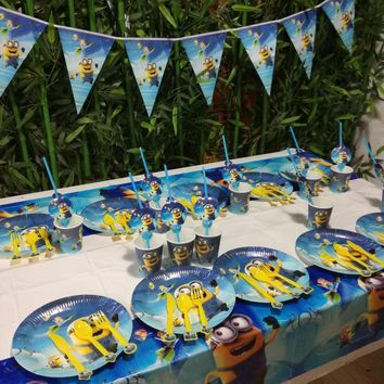 62pcs Minions Party Supplies Plate/Cup/Flags/Tablecloth/Straw Minion Birthday Party Decoration Shower Favor Minions Party Set