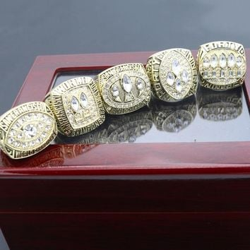 HIGHT QUANTITY Drop shipping High Quality Alloy 49ers 1988 1989 1984 1994 1981 championship ring With Wooden Box