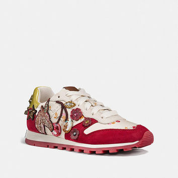 Custom Coach Runner Sneakers, Runner with Uni Patches, Custom Red Sneakers, Swarovski Sneakers,Crystals Coach shoes,Custom Bedazzled