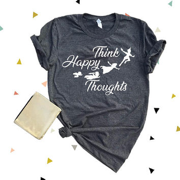 Think Happy Thoughts Super Soft Triblend Tee. Disneyland Unisex Tee. Cute Disney Shirt.Family Disney Trip. Peter Pan Shirt[V1076]