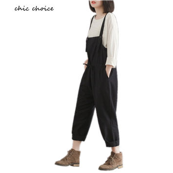 M-XXXL Real Photo Fashion Harm Women Pants Plus Size Ladies Jumpsuit Overalls Linen Loose Rompers Black Cotton Trousers