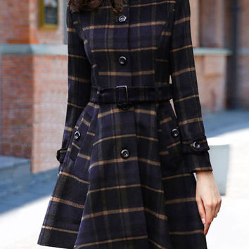 Plaid Long Sleeve Buttons Belted A-Line Mini Skater Coat