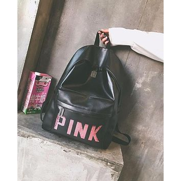 Pink Back To School Comfort College PU Backpack