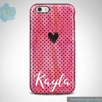 iPhone 6 case, Personalized iPhone 6s Plus case iPhone 5s case 6 plus Samsung case S6 Edge S5 S4, Pink Watercolor Black Dots Heart (53)