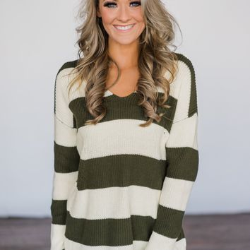 Olive You More Striped Top