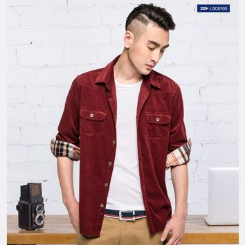 New Fashion  Spring Corduroy Shirt Men Casual Shirts Mens Long Sleeve Slim Fit Clothes  Cotton Camisa Masculina