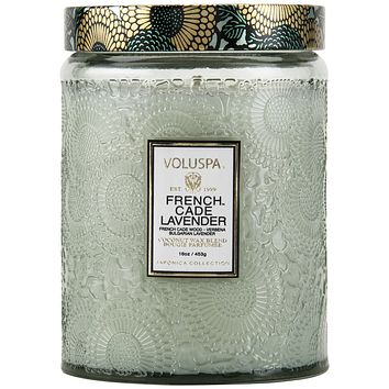 VOLUSPA French Cade Lavender LARGE EMBOSSED GLASS JAR CANDLE