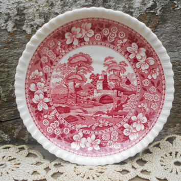 Spode Red Transferware Saucer Plate - Butter Pat - Demitasse Saucer - Copeland Spode Tower - Castle - Red - White - England