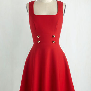 Americana Mid-length Sleeveless Fit & Flare Delightfully Charming Dress in Ruby