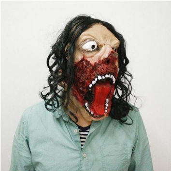 Unique Terrible Zombie Mask Horror Scary Rotface Man Full Face Mask With Black Hair Halloween Costume Cosplay dance party masks