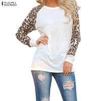 Fashion Blusas Women Ladies Spring Autumn Long Sleeve Leopard Loose Casual Tees Tops T Shirt 3 Colors Plus Size M-XXXL