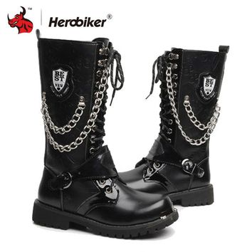 MOTO BOOTS Motorcycle Boots Men Motocross Motorbike Riding Shoes Moto Retro Artificial Leather
